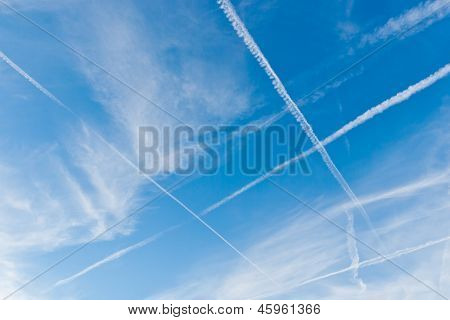 Sky With Crossing Vapor Trails