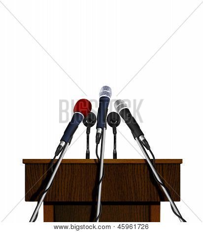 Press conference podium and microphones
