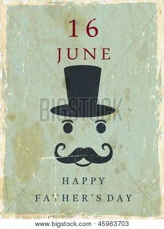 Happy Fathers Day with mustache, hat and text 16th June and on green background.