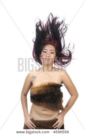 Young Asian Woman Throwing Hair Back