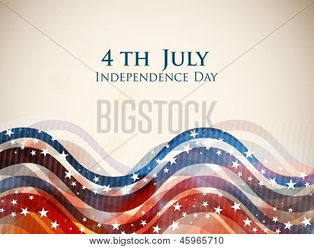4th of July, American Independence Day colorful waves background in national flag colors.