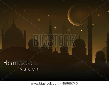亮的月亮和星星夜晚的视图