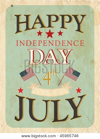 Vintage flyer, poster or background for 4th of  July American Independence day.