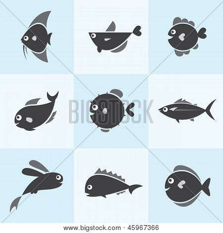 Set of vector fish icons