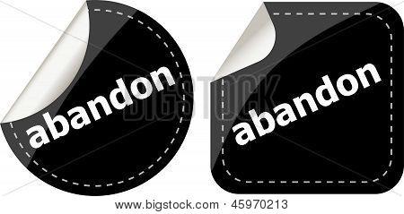 Abandon Word Black Stickers Set Icon Button
