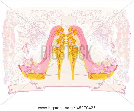 Stylized Floral Shoes. Stiletto High Heel Decorated Of Flowers