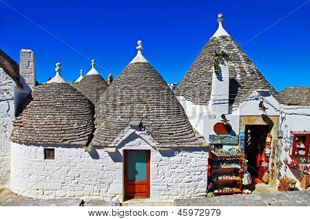 Unique Trulli houses with conical roofs in Alberobello, Italy, Puglia