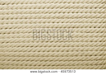 Heavy, White Coiled Rope. Can Be Use As Background