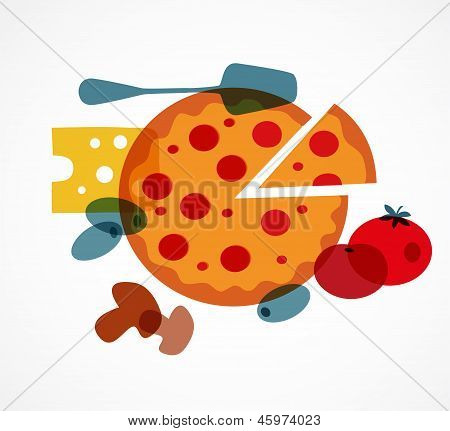 Pizza with its ingredients