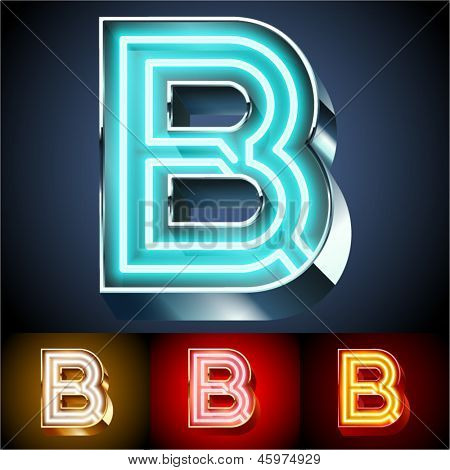 Vector illustration of realistic neon tube alphabet for light board. Gold and Silver and Red options. Letter B