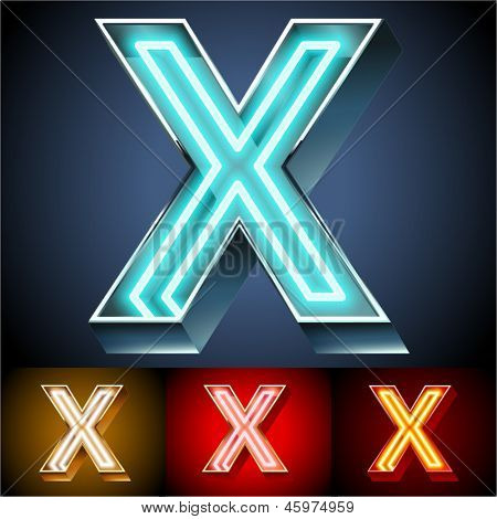 Vector illustration of realistic neon tube alphabet for light board. Gold and Silver and Red options. Letter X