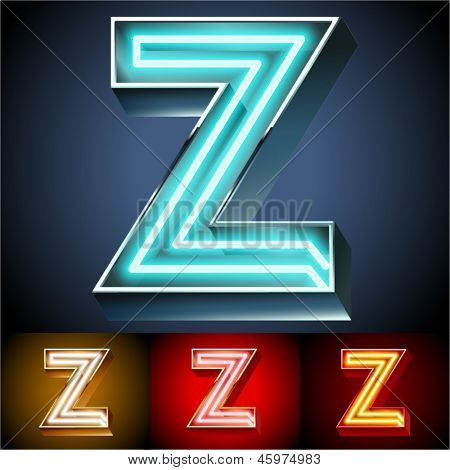 Vector illustration of realistic neon tube alphabet for light board. Gold and Silver and Red options. Letter Z