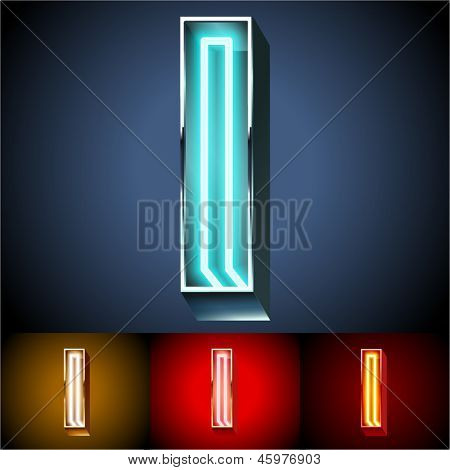 Vector illustration of realistic neon tube alphabet for light board. Gold and Silver and Red options. Letter I