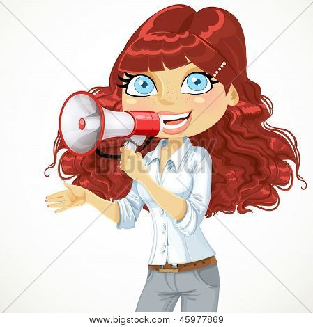 Cute curly haired girl speaks in a megaphone isolated on white b