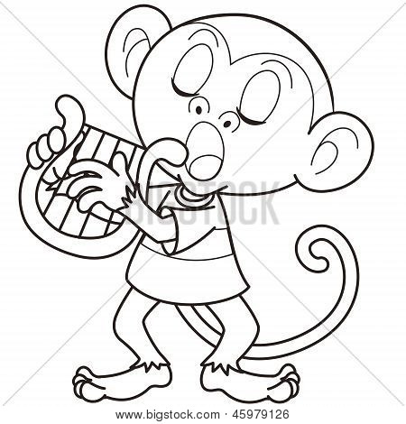Cartoon Monkey Playing A Harp