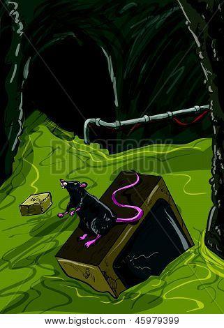 Sewer illustration with broken tv floating
