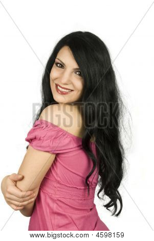 Brunette Woman With Long Hair And Big Smile