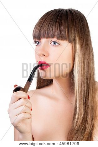 Woman With Tobacco Pipe