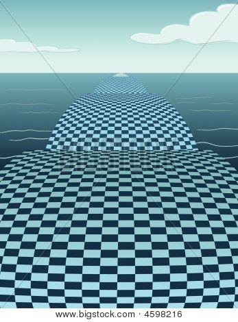 Checker Bridge In The Water - Vector Illustration