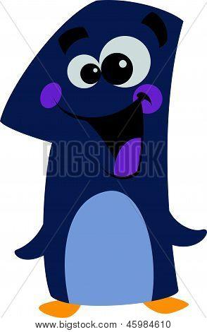 Dibujos animados número 1 cara sonriente pingüino