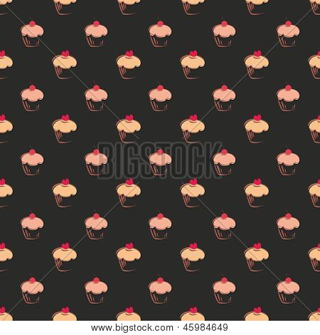 Seamless vector pattern or dark texture with big sweet muffin cupcakes on black background