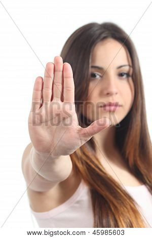 Pretty Teenager Girl Making Stop Gesture With Her Hand