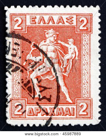 Postage Stamp Greece 1919 Hermes Carrying Infant Arcas