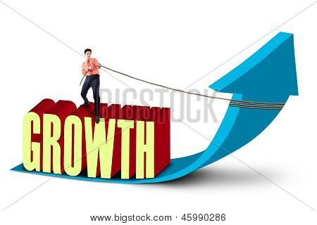 Businessman Pull Growth Graph - Isolated