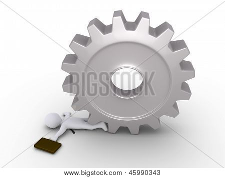 Businessman Crushed By Cogwheel