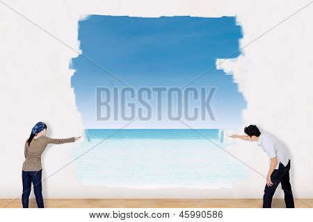 Couple Painting Beach Landscape