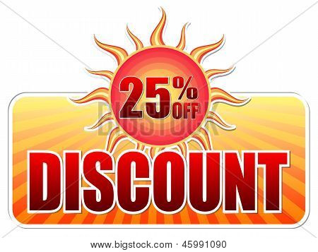 Summer Discount And 25 Percentages Off In Label With Sun