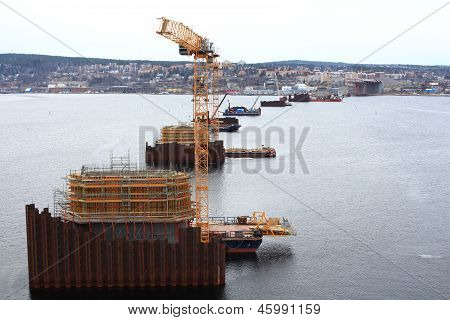 Piers under construction