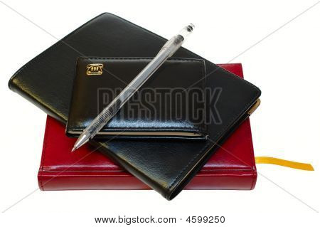Three Notebooks (organizers) And Jell Pen.