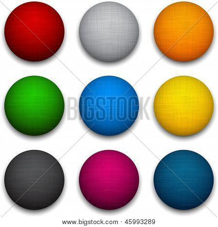 Set of blank colorful round buttons for website or app. Vector eps10 balls.