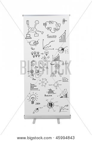 Blank roll up banner display with drawing graph  isolated on white background