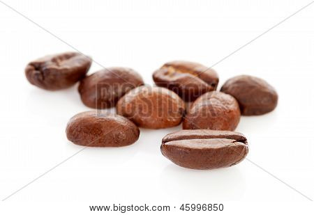 Couple Of Coffee Beans In Closeup