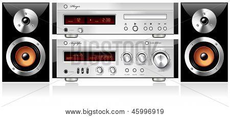Music Stereo Audio Sound Components Rack, detailed vector