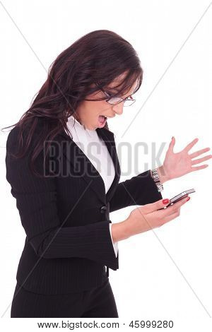 young business woman looking at her phone and acting angry. on white background