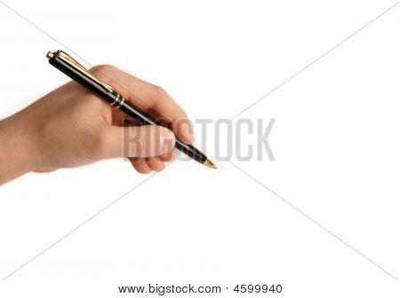 Lefthanded Child Writing On White Paper
