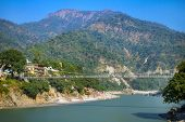 picture of gang  - Laxman Jhula bridge over Ganges river in Rishikesh - JPG