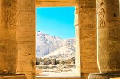 stock photo of pharaoh  - The Ramesseum is the memorial temple  of Pharaoh Ramesses II in the West Bank of Luxor city - JPG