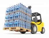 Forklift with water PET bottles