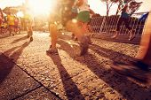 image of competing  - Marathon running race people competing in fitness and healthy active lifestyle feet on road - JPG