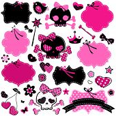 stock photo of emo  - large set of wild girlish cute skulls and other elements - JPG