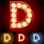 image of letter d  - Vector illustration of realistic old lamp alphabet for light board - JPG