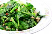 image of kale  - Stir fried of Chianease kale vegetables with pork Thai style food - JPG