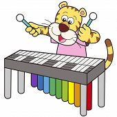 Cartoon Tiger Playing A Vibraphone
