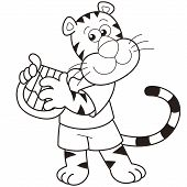 Cartoon Tiger Playing A Harp