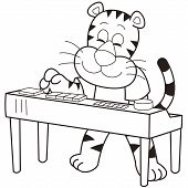pic of organist  - a cartoon tiger playing an electronic organ - JPG
