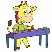 image of organist  - Cartoon giraffe playing an electronic organ - JPG